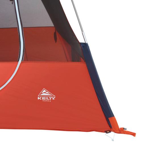 Close up of Kelty Rumpus 6 tent, showing bottom corner