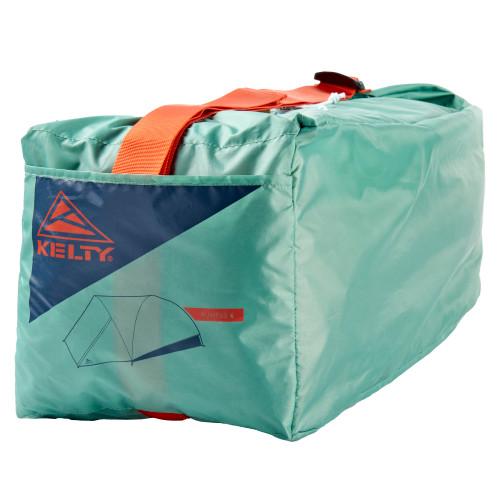 Close up of Kelty Rumpus 6 tent, showing rectangular storage bag