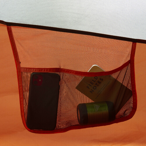 Close up of Kelty Rumpus 6 tent, showing interior hanging mesh storage pocket