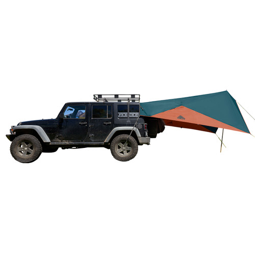 Kelty Waypoint Tarp, Reflecting Pond/Gingerbread, shown attached to Jeep, side view