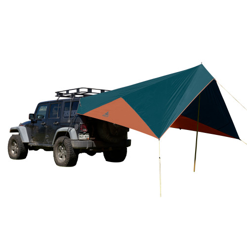 Kelty Waypoint Tarp, shown attached to Jeep, rear view