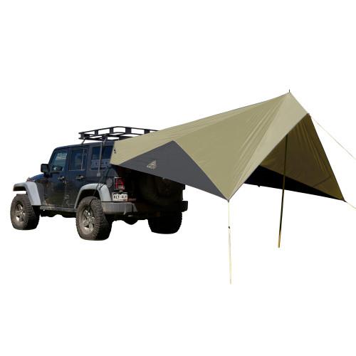Elm/Dark Shadow  - Kelty Waypoint Tarp, shown attached to Jeep, rear view