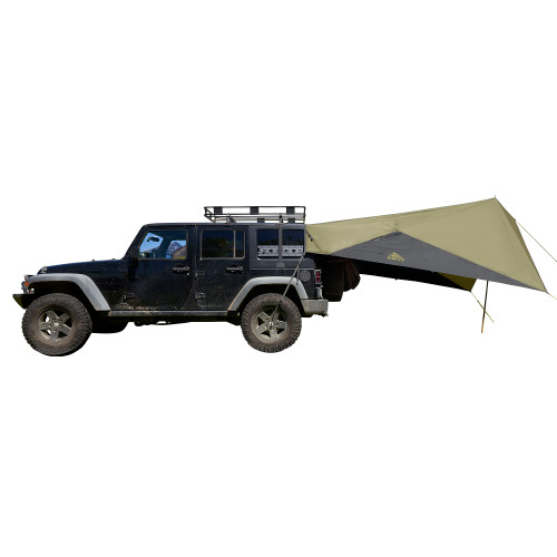 Kelty Waypoint Tarp, Elm/Dark Shadow, shown attached to Jeep, side view