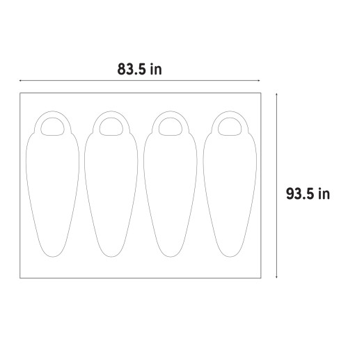 "Illustration of Kelty Rumpus 4 footprint dimensions, 83.5"" x 93.5"""