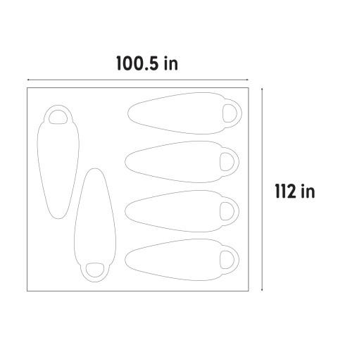 "Illustration showing dimensions of Kelty Rumpus 6 footprint, 100.5"" x 112"""