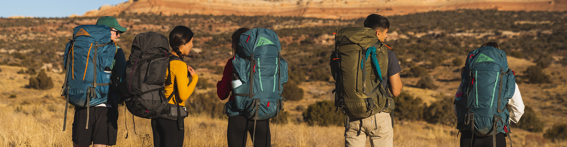 Hikers with internal frame backpacks