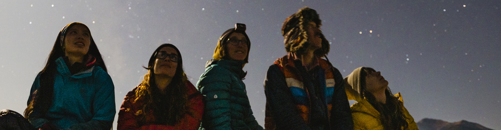 Campers with their new Kelty gear gazing at the stars