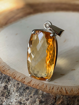 BRAND NEW Hand made, One of kind Sterling Silver Citrine Pendent, Unisex.