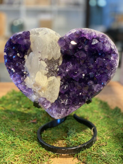New Amethyst Heart Geode With Calcite Crystal  Amethyst Specimen. From Uruguay.