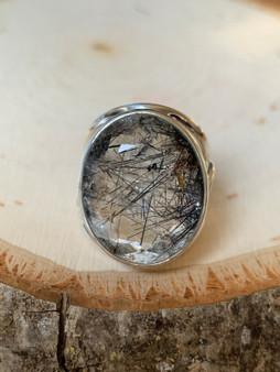 NEW Hand made, One of kind Sterling Silver Oval Tourmalinated Quartz Ring.