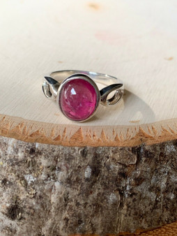 NEW Hand made, One of kind Sterling Silver Pink Tourmaline  Ring, Unisex.