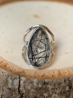 NEW Hand made, Set in Sterling Silver Teardrop Tourmalinated Quartz Ring.