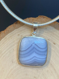 New Natural Blue Lace Agate pendant handmade  set in Sterling Silver 925