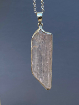 NEW Raw Kunzite Pendent Hand Crafted One of kind set in Sterling Silver