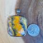 Bumble Bee Jasper pendant- jasper pendant, gemstone pendant, yellow stone pendant, dandle pendant, 925 Sterling silver pendant large pendant