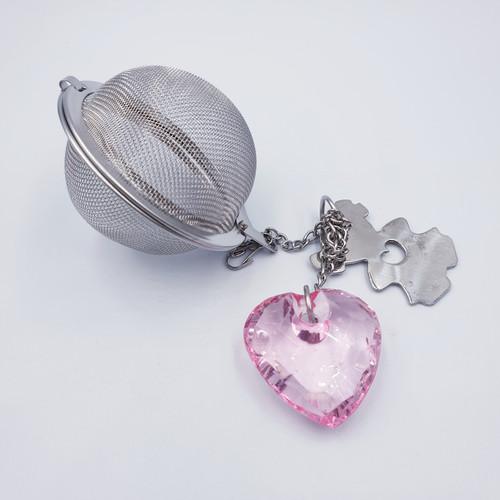 Crystal Heart Tea Infuser Ball - Pink
