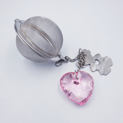 Crystal Heart Tea Infuser Ball - Pink