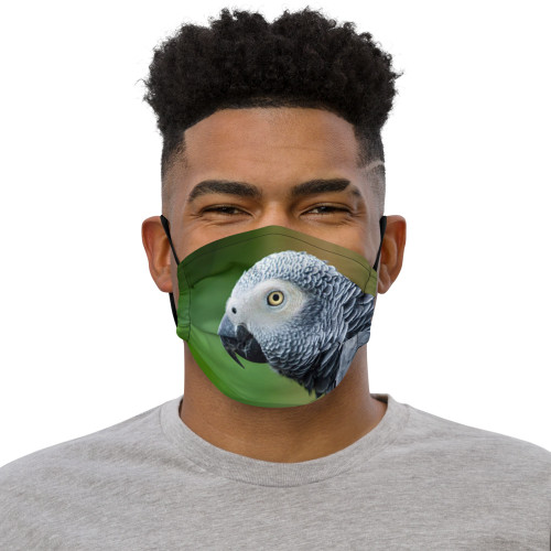 African Grey - Green Face Mask