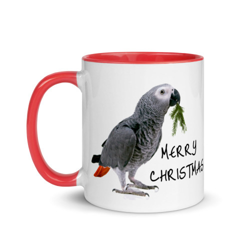 Christmas African Grey Mug with Colour Inside
