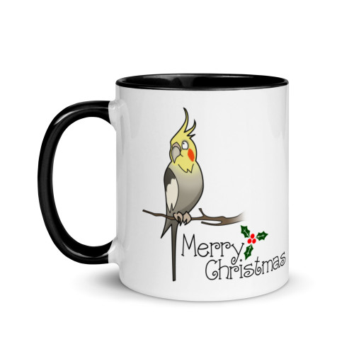 Christmas Cockatiel Mug with Colour Inside