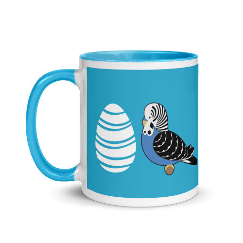 Budgie Easter Mug with Colour Inside