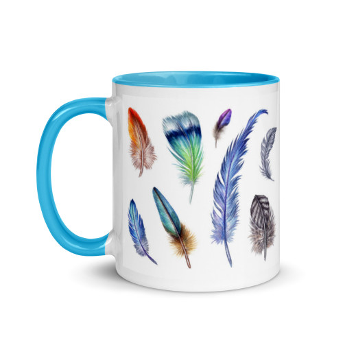 Feathers Easter Mug with Colour Inside