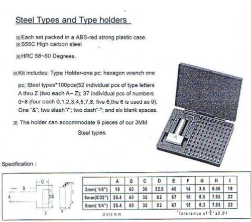 6mm Metal Stamp Type Set (100pc) - Includes Holder [Best Quality]