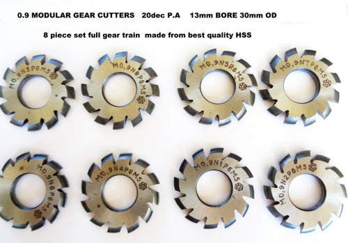 Gear Cutter set Involute Module 0.9 20P.A full set of 8 Cutters HSS 13mm bore