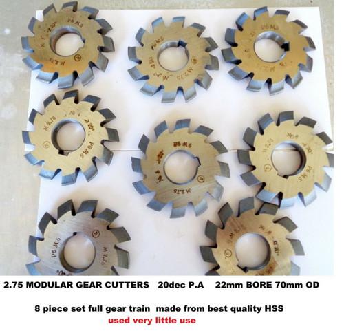 Gear Cutters Involute Modular 3.5 *20P.A full set of 8 Cutters HSS 27mm bore