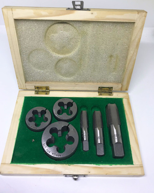 """BSPT 6pc Boxed Tap and Round Die Set - 1/4"""" to 1/2"""" (Carbon Steel)"""
