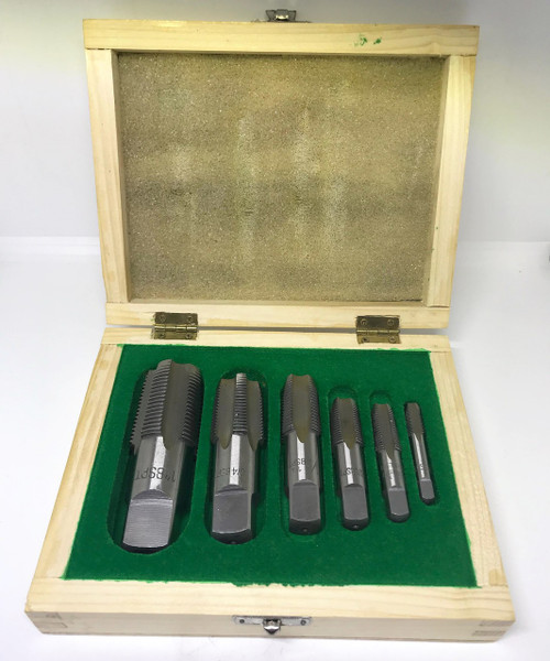"BSPT 6pc Boxed Tap Set -  1/8"" to 1"" (Carbon Steel)"