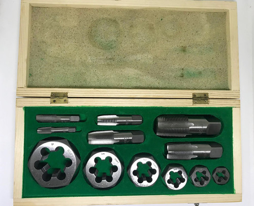 "BSPT 12pc Tap & Hex Die set boxed 1/8"" to 1"" made from Carbon Steel"