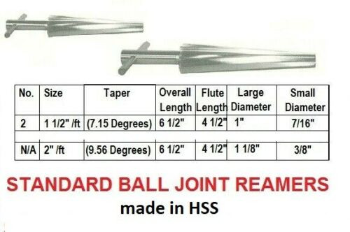 Ball Joint Reamer | Tapered Spiral Fluted HSS (Sizes Inside)