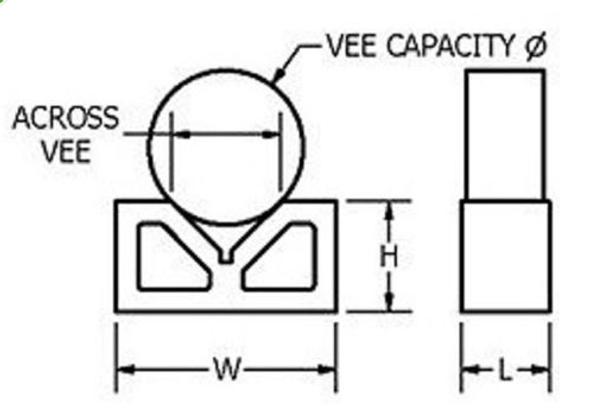 """3"""" Vee Blocks [Matching Pair] - 75 x 56 x 31mm - Up to 70mm Round"""