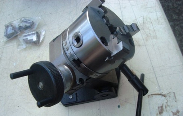 """4""""/ 100mm Tilting Rotary Table with Mounted 3 Jaw Chuck"""
