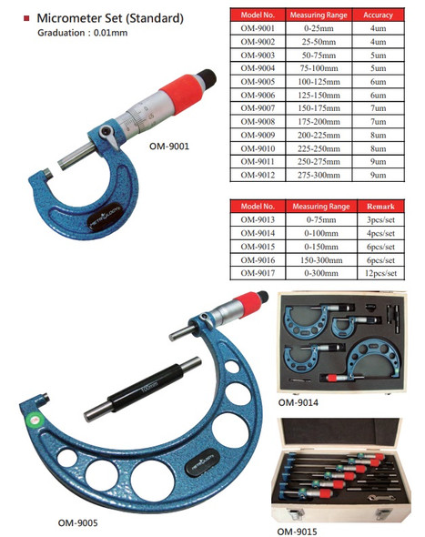 Outside Micrometer 6pc Set (Metrology Calibrated) - [0-150mm/0.01mm]