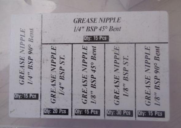 Grease Nipples bent straight 1/8 & 1/4 BSP threaded backs 110pc kit