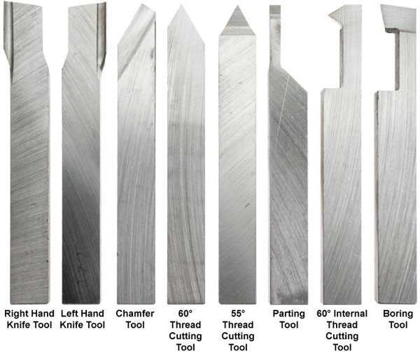 HSS Lathe Cutting Tool Profiles (8pc Set) - Sizes 4 to 12mm