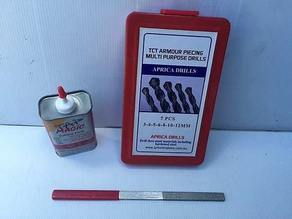 TCT Metric Armour Piercing Drill Set (7pc) - 3 to 12mm | File & Fluid Included
