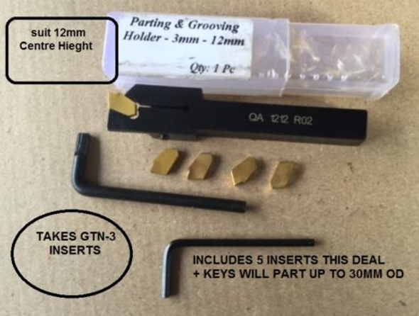 Parting/Grooving Tool 12mm Shank & Centre Height takes GTN Inserts