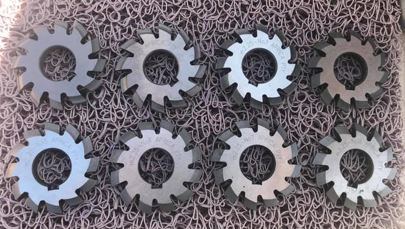 Gear Cutters Involute Modular 2.25 *20P.A full set of 8 Cutters HSS 22mm bore