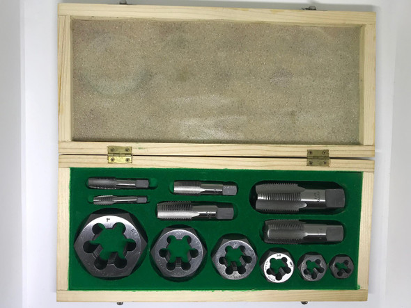 "NPT 12pc Boxed Tap & Hex Die - 1/8"" to 1"" (Carbon Steel)"