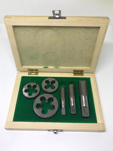 """BSP 6pc Boxed Tap and Round Die Set -  1/4"""" to 1/2"""" (Carbon Steel)"""