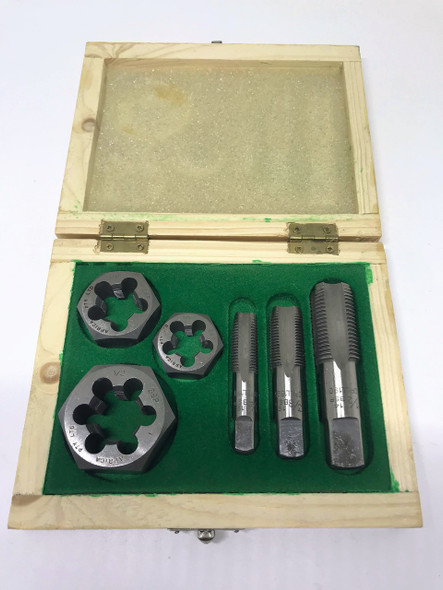 """BSP 6pc Boxed Tap and Hex Die Set - 1/4"""" to 1/2"""" (Carbon Steel)"""