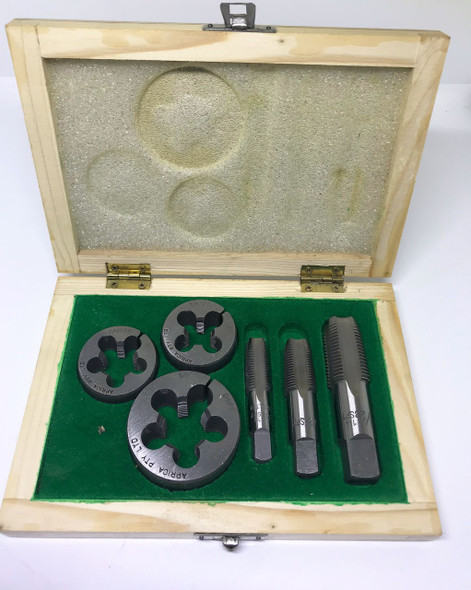 "BSPT 6pc Boxed Tap and Round Die Set - 1/4"" to 1/2"" (Carbon Steel)"
