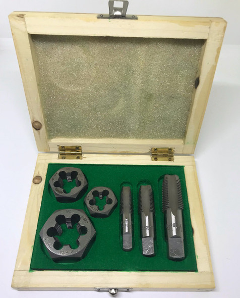 "BSPT 6pc Boxed Tap and Hex Die Set - 1/4"" to 1/2"" (Carbon Steel)"