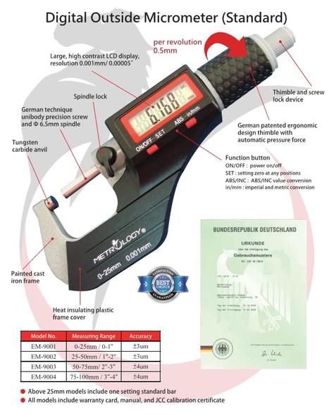 "Digital Outside Micrometer (Metrology Calibrated) - [25-50mm/0.001mm]  [1-2""/.00005""]"