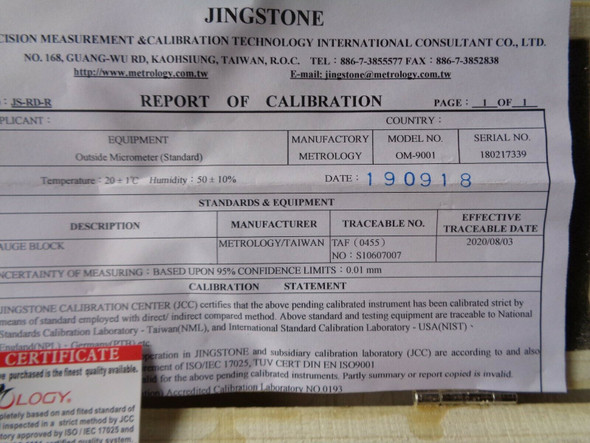 digital micrometer certificate melbourne