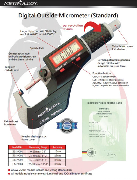 Outside Micrometer 0-25mm/0.001mm - Metrology Calibrated