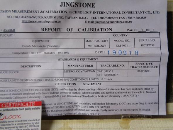 calibration certificate metrology micrometer